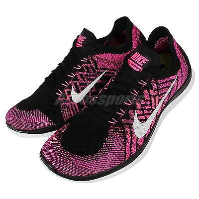 Wmns Nike Free 4.0 Flyknit Pink Black Womens Running Shoes Sneakers 717076-006
