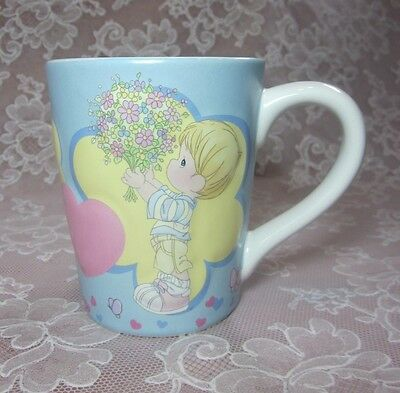 """2004 Precious Moments """"I Picked You to Love"""" Boy w/Bouquet Cup Valentine's Gift"""