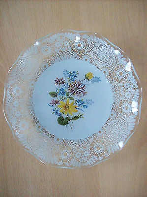 Plate Decorative Plate With Floral & Leaf Pattern by Fiesta Glass Vintage 1980s