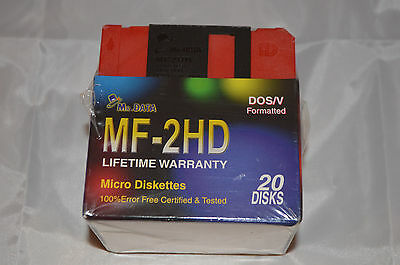 Mr Data MF-2HD Micro Diskettes 20 Disks Pack DOS/V Formatted. 3.5 Floppy 1.44MB