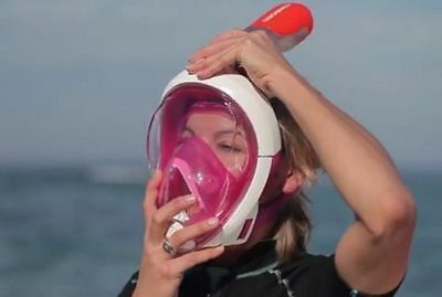 Genuine Tribord Pink Easybreath S/M Full Face Snorkeling Mask Small/Med Snorkel