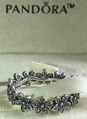 Pandora Dazzling Daisy Band Ring 190934Cz,s925 Ale,size 54 Sterling Silver+Pouch