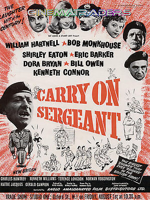 CARRY ON SERGEANT  Trade Poster WILLIAM HARTNELL Shirley Eaton KENNETH CONNOR