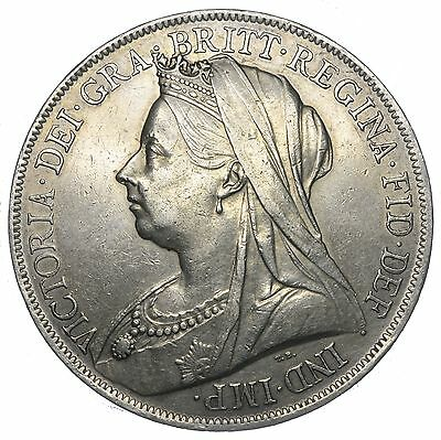 1900 Lxiv Crown - Victoria British Silver Coin - V Nice