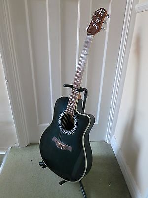 Crafter F-510 electro acoustic guitar in blue with strap & stand
