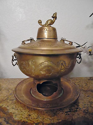 Vintage Southeast Asian Brass Steamer, Brazier, Wth.dragons,heating Pot