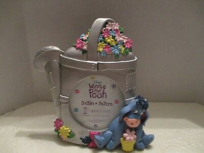 "Disney Winnie the Pooh  ""Eeyore"" Resin Watering Can 3x3 Round Photo Frame"