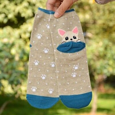 Fashion Cartoon Animals Cute New Ankle Cotton Dog Puppy Print Short Socks