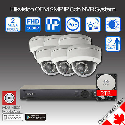 Hikvision OEM 2MP(1080P) IP Camera NVR 8ch CCTV System Package 2TB Onboard