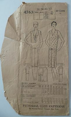 Antique 1920s PICTORIAL PRINTED Woman's Day DRESS Pattern #4763 Instructions