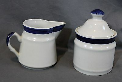 Retro Blue Glazed Stoneware Creamer and Sugar Bowl Lid Country Kitchen Decor