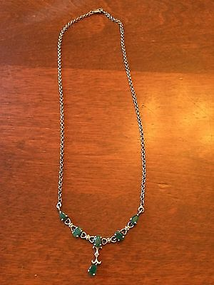 Emerald and Sterling Silver 18 inch necklace