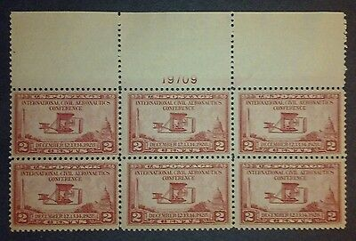 US MH 649 Plate Block of Six 2 cent 1928 Aeronautics Conference issue Top 2A