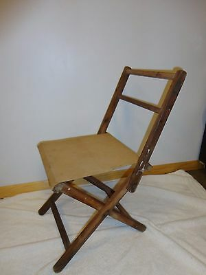 Vintage Folding Cloth Canvas Wood Frame Stool Chair with Back ~  Fishing/Camping