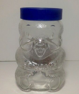 VINTAGE SKIPPY PEANUT BUTTER GLASS JAR W/ PLASTIC LID/PIGGY BANK Real Thing !!