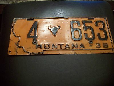 A+ *1938* Montana State Shape Steer Bull Cow License Plate # 4 653