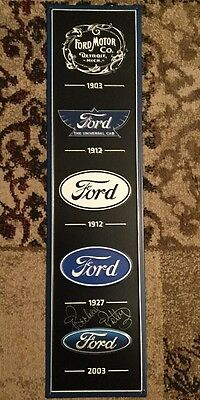 Ford Motor Company Metal Sign Autographed By Richard Petty
