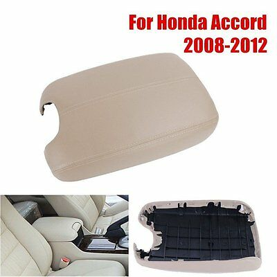 Beige For 2008-2012 Honda Accord Console Center Armrest Cover Lid PU Leather