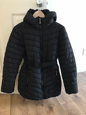 H&M Mama Maternity Black Belted Puffer Winter Jacket Size Small With Hood