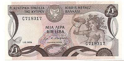Central Bank of Cyprus - 1979 1 Pound Banknote (Very Nice!)
