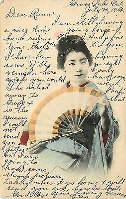 c1907 Hand-Colored Japanese Postcard; Lovely Geisha-type Girl with Fan, Japan