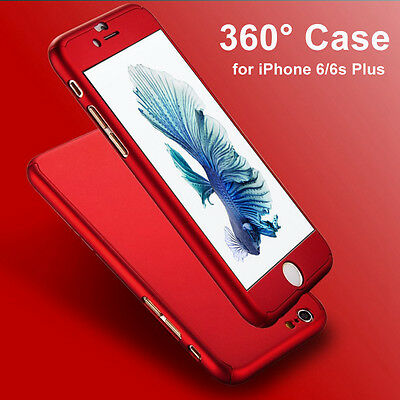 360° Full Body Cover Hard Shockproof + Tempered Glass Case For iPhone 5 6 7 Plus