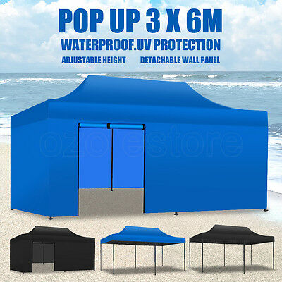 3x6M Outdoor Gazebo Marquee Tent Canopy Pop Up Party Stall Outdoor BBQ Folding