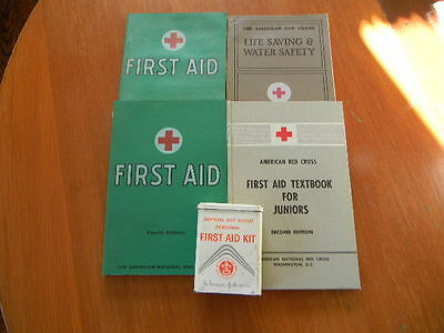 Lot of American Red Cross Boy Scouts First Aid Life Saving & Water Safety & Kit