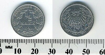 Empire of Germany 1906 A - 1/2 Mark Silver Coin - Berlin Mint - #4