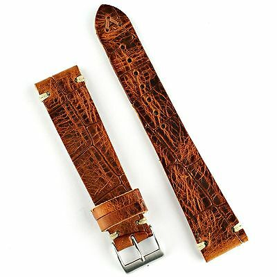 Amber Croco Handsewn Classic Vintage Style Watch Band Strap in 18mm, 20mm, 22mm