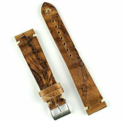 Whiskey Croco Handsewn Classic Vintage Style Watch Band Strap 18mm, 20mm, 22mm
