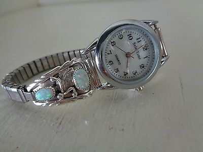 Ladies Watch Tips With Watch & Nice Opals Signed By Running Bear Navajo - RB