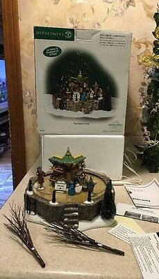 """Dept 56 Dickens Village """" TOWN SQUARE MARKET """" ANIMATED Skating RARE #58590 Mint"""