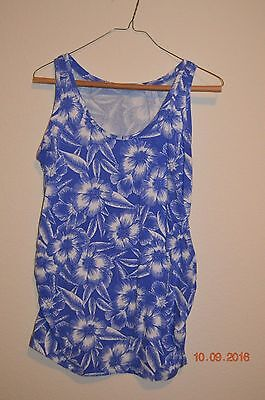 Motherhood Maternity Size Small Blue & White Floral Print Tank Top