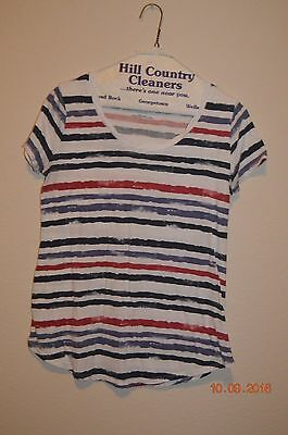 Motherhood Maternity Size Small Striped Short Sleeve Top White Red Blues