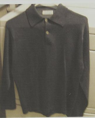 Vintage Men's Gray Wool 2-Button Long Sleeve Polo Style Shirt Size S