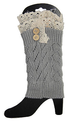 Lace Button Trim Boot Socks Cuffs Toppers Crochet Cable Knit Leg Warmers GREY A