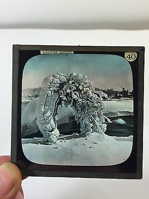 Antique Glass Magic Lantern Photograph Photo Slide Of Snow Arch American Lecture