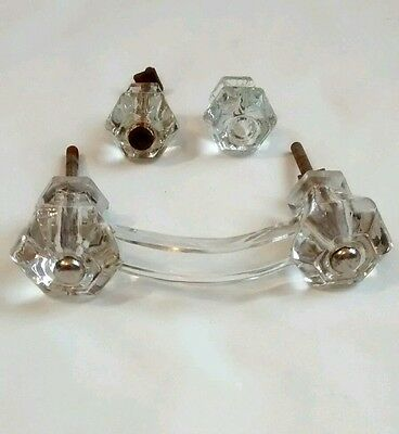 Clear Glass Drawer Pull Cabinet Handle & 2 Knobs Antique Architectural Salvage