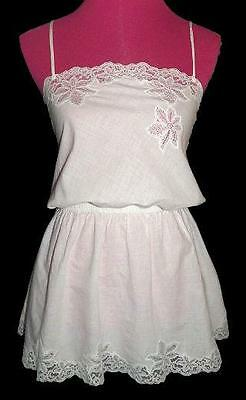 Flirty Vintage White Cotton Lace Short Nightie Babydoll Nightgown Top M