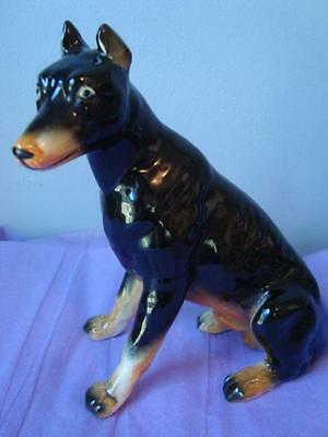 Vintage Doberman Pinscher Dog Ceramic Arts Figurine Studio Piece MALE