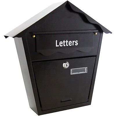 Traditional Steel Post Box Postbox Lockable Letter Mail Wall Mounted Waterproof