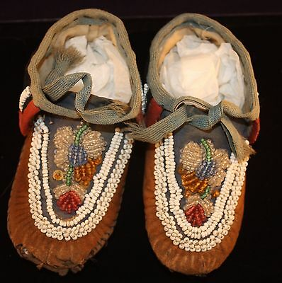 1880s Native American Iroquois Beaded Child's Moccasins