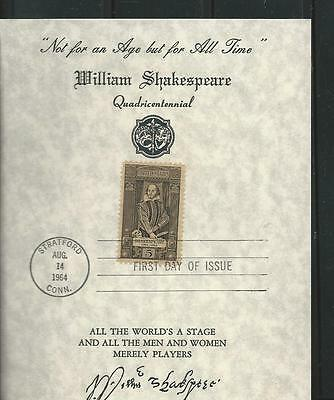1250 FDC 5c SHAKESPEARE 5 X 6 PARCHMENT COVER BY GOODWILL AMBASSADOR
