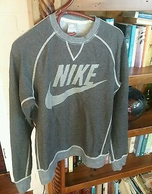 Nike Mens Grey / White Stitching Size M Jumper Pullover Top Fleece Vgc Sports