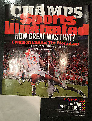 Hunter Renfrow Clemson Tigers National Champs Sports Illustrated January 16 2017