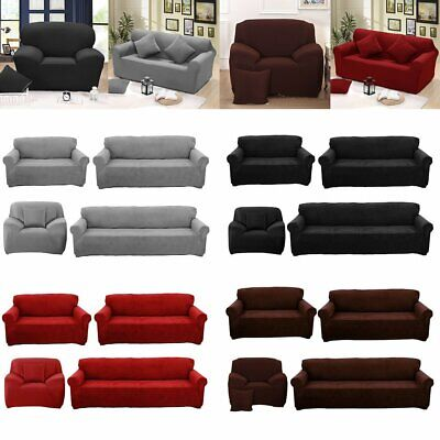 4-way Stretch Solid Couch Sofa Cover 1 2 3 Seater Protector Slip Cover 188-244cm