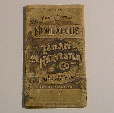 """1893 """" Minneapolis Esterly Harvester Co. """" Diary & Pamphlet / Pocket Book"""