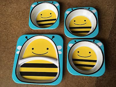 Skip Hop Zoo Melamine Plates. Children's Bee 3 Bowls & Plate
