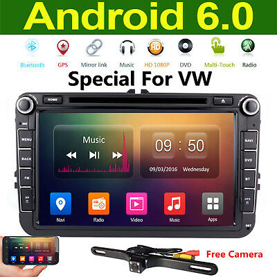 2Din Android6.0 Quad Core GPS Navigation Car DVD Player Stereo Radio For VW+CAME